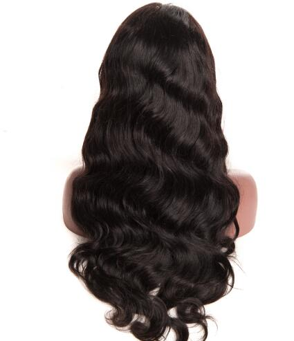 "Popular body wave natural black long human hair front lace wig wih baby hair ,8""~30"" Pre Plucked Bleached Knots"