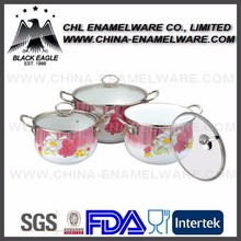 Factory wholesale promotional enamel cooking pot with enamel lid