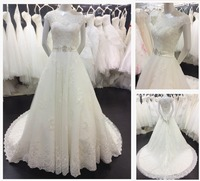 Real pictures Alibaba Dresses Vestidos Long Keyhole Back Cap Sleeves Beading Waist Lace Appliqued Bridal Wedding Dress 2016 A093