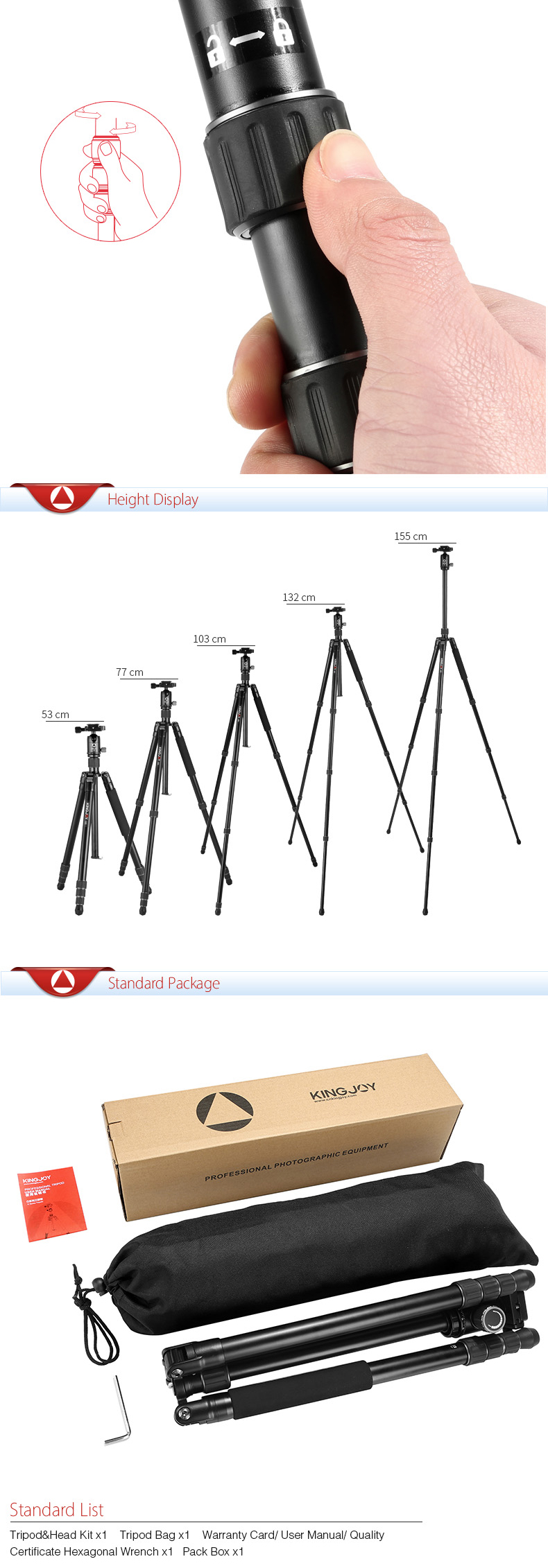 KINGJOY Lightweight DSLR Flexible Quick Release Studio Camera Tripods for professinal Video slr Camera