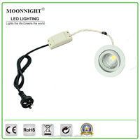 Round shape SAA CE RoHS white brushed satin nikel recessed COB 9w ic dimmable led downlight for commercial lighting