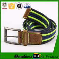 Pin buckl fashion canvas belts with leather trim