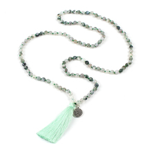 6mm Green Agate Gem Stone Beaded Tassel Necklaces Gemstone Beads Necklace Natural