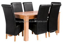 Hot Sales Wholesale cheapest 6-seats Top PU Chair & Table Wooden Elegant Furniture Dining Set Black with PU wooden dining chair