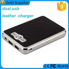 traveling 2 USB 2.1A output rechargeable leather power bank 10000