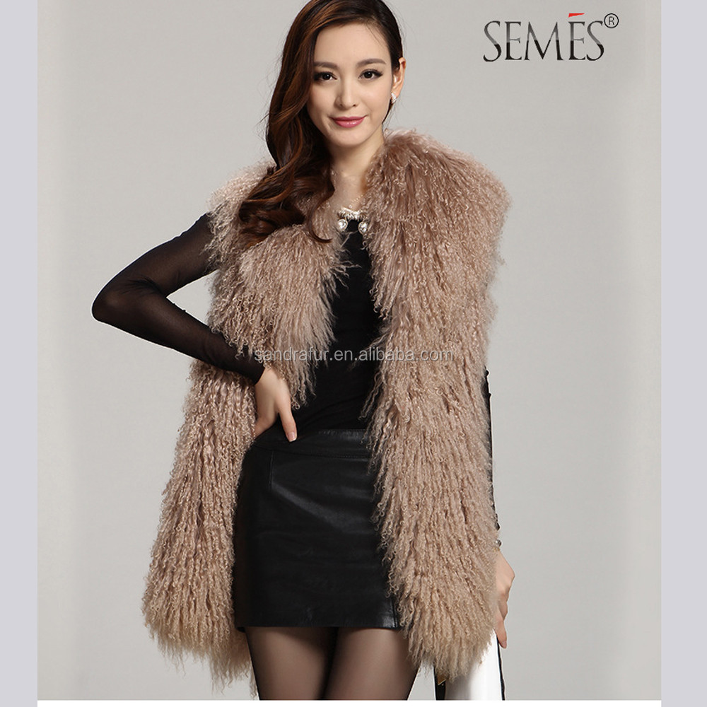 SJ036-01 Chinese Factory Real Fur Sheep Wool Wholesale Vest