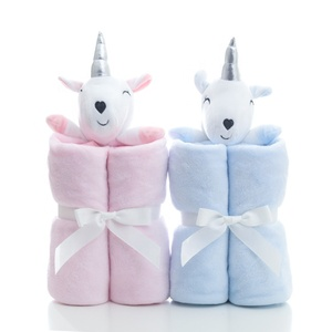 Super soft Children Unicorn Embroidery Plush Unicorn Flannel Warm baby Blankets for gift