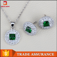 Cheap Wholesale Jewelry Factory In Guangzhou Fashion Emerald Bridal Charming Crystal moti Jewelry Set