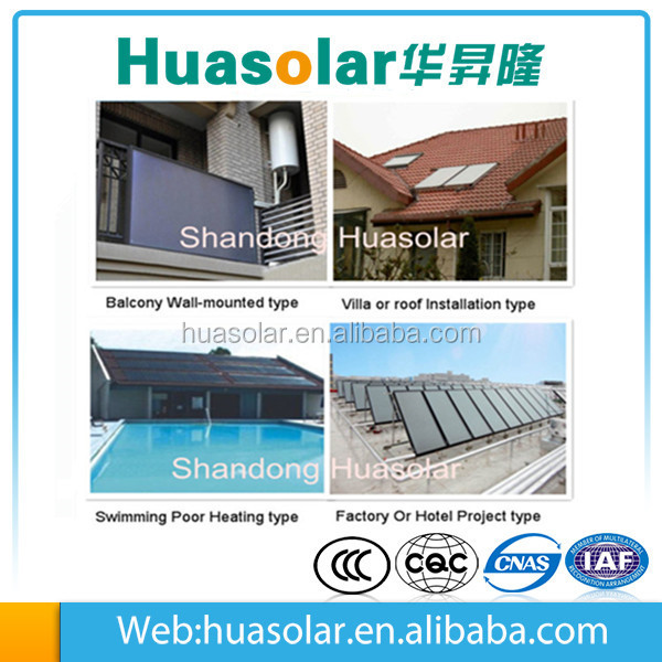 Balcony wall/rooftop mounted selective coating flat panel solar collector