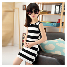 c030 2017 fashion Black and white stripes children clothes set little <strong>girl's</strong> cotton <strong>dress</strong>
