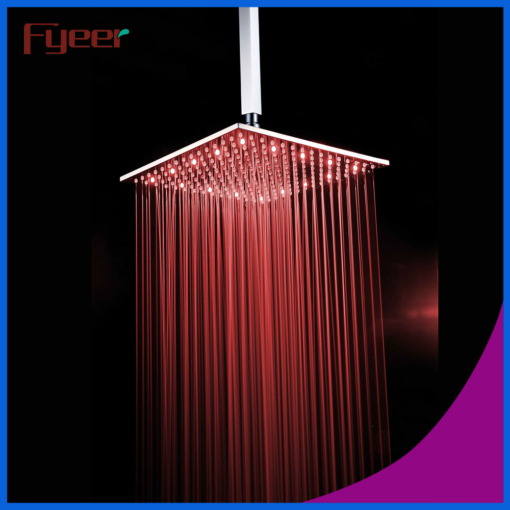 Fyeer 16 Inch Square Stainless Steel Led Rainfall Shower Head Bathroom Colorful Shower Head