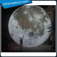 Giant inflatable lighting moon / 6m digital full printing inflatable led moon