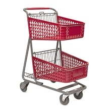 American type supermarket double plastic basket shopping trolley cart