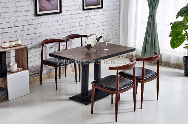 Metal Framed Wooden Dining Chair