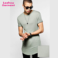 Waffle knit extra longline t shirt scoop bottom t shirt