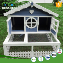 2017 Warm Shelter Wooden Rabbit House Design With Opened Wire Run Cages