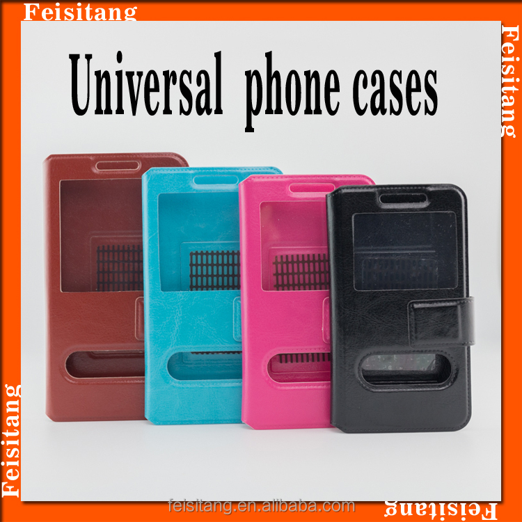 Flip PU mobile case leather phone shell case general any models Universal cell phone case for huawei p8 lite