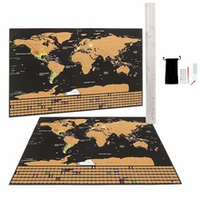 Scratch Off World Map - Large with US States, Travel World Map, Black and Gold, Travel Gift Tube AMA-42