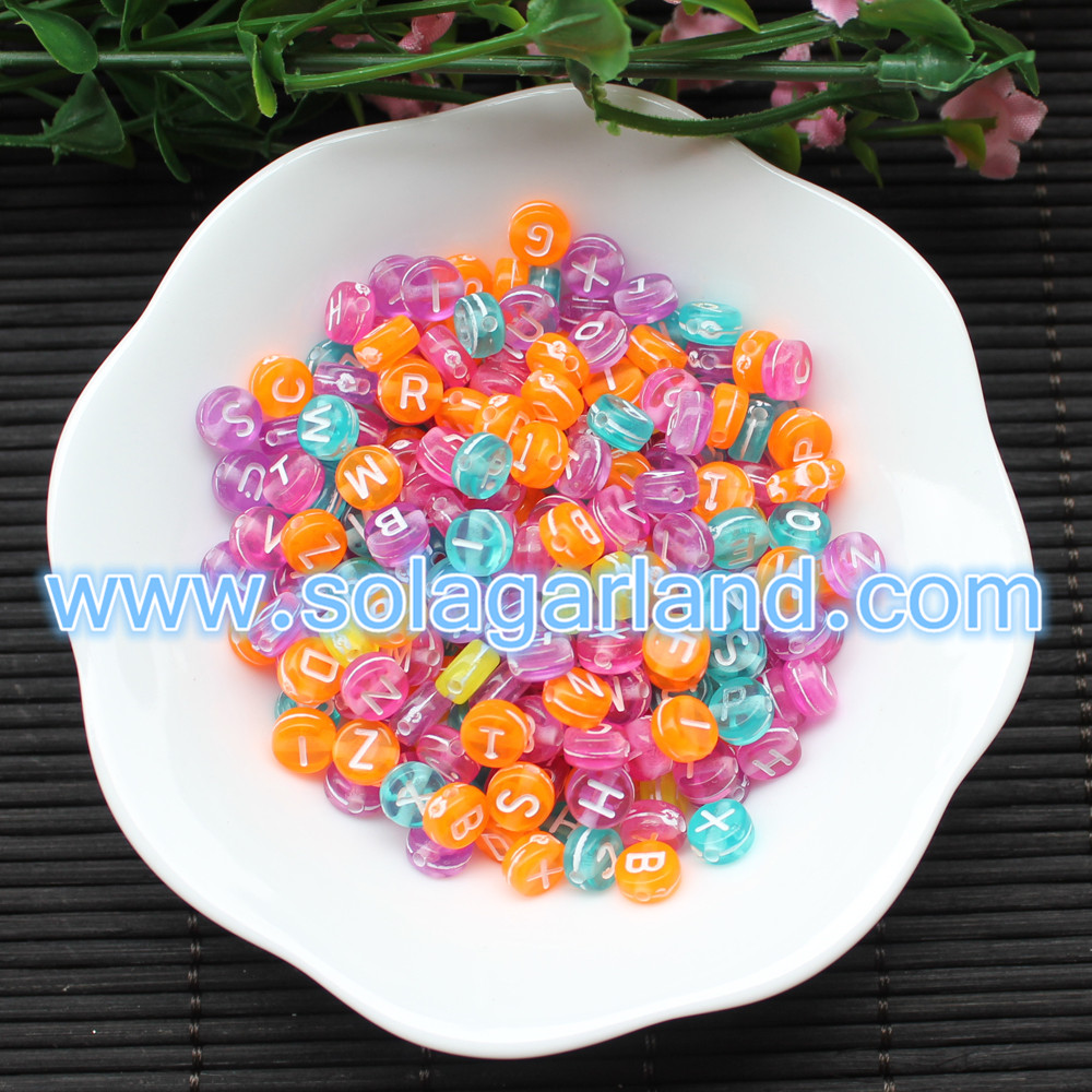 Wholesale Acrylic Crystal Coin Aphabet Letter Beads Flat Round Spacer Letter Beads 4*7MM