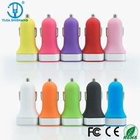 12V /24V usb car charger 2 port and two sockets for tablet with 10 colours