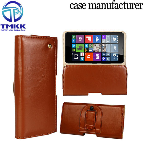 LM6401 Waist Pack Genuine Leather Flip Case for Microsoft Lumia 640XL