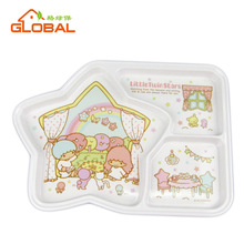 3 sections star shape baby plastic plates for kids