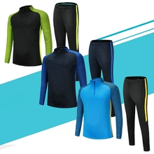 Black fluorescent stripe training uniform football jersey new model plain jacket and pant