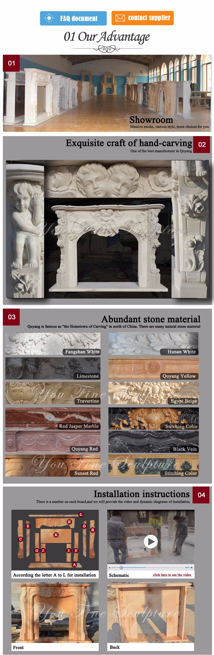Decorative Hand Carved Angel Stone Fireplace