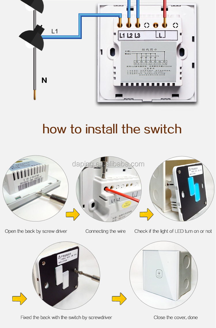 smart home switch 3 gang touch screen switches