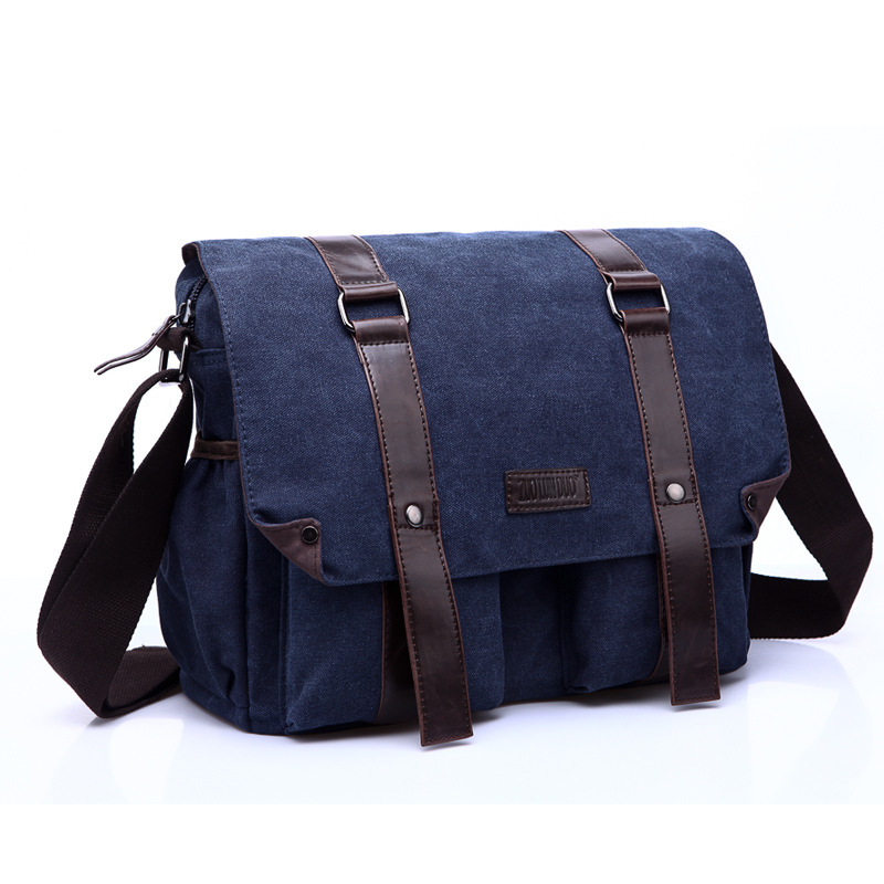 New 2015 Hot Sale Fashion Bags Canvas Leather Satchels Crossbody Bags Solid Blue Buckles Cover Women Shoulder Bag Large Capacity