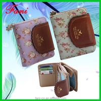 Fancy flower printed PU leather coin purse with fold design for girls