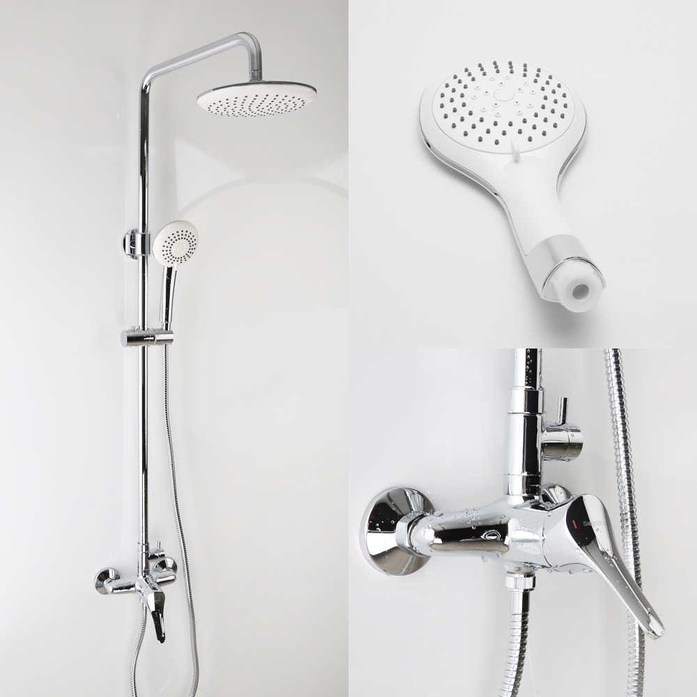 Exposed Shower Mixers , Rainfall Shower Set With Handheld Spray