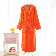 Cotton Velour Orange Hooded Bathrobe for Women