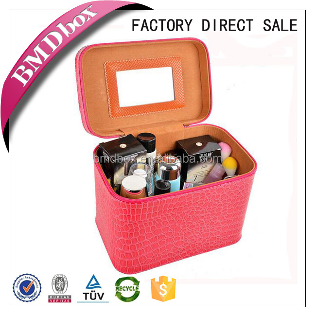 factory sale pu leather makeup case with mirror