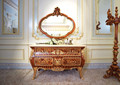 Royal Louis XV Marquetry 24K Gold Plated Dresser Commode Cabinet With Mirror / New Classic Vanity Bedroom Dresser Furniture