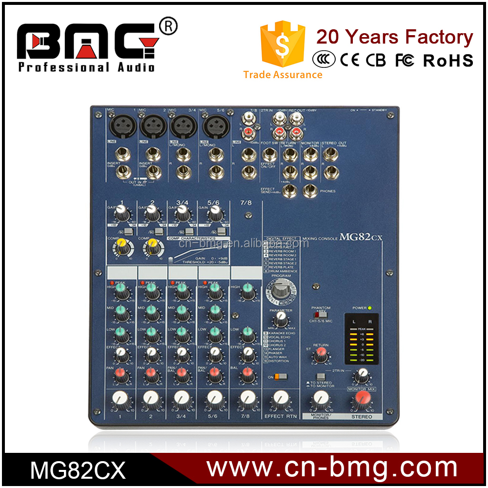 Professional 5 Channel audio mixer MG82CX for Perfect Sound Compact