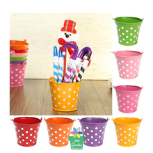 Hotsale promotion small garden flower water galvanized Powder coated metal bucket with polka dots
