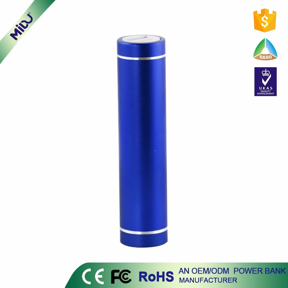 High Quality Blue custom logo FCC Aluminium Alloy Material Cylindrical Lipstick Mobile cheapest power bank for smartphones