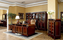 Bisini Luxury Executive Office Desk, Noble Italian Style Classic Reading Table/Chair/ Bookcase, Graceful Home Office Furniture