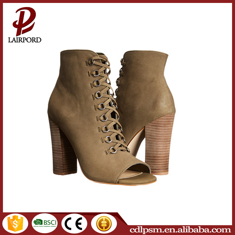 New arrival sexy fashion pump toe side zipper ladies lace up women high thick heel summer shoes