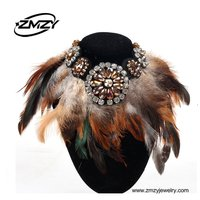 Vintage Style Fashion Women Feathers Fake Collar Necklace Crystal Choker Jewelry