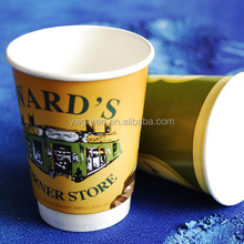 custom print disposable espresso double wall cup with lid