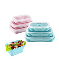 350ml 540ml 800ml Silicone Collapsible Storage Box Bento Portable Microwave Applicable Kitchen Container Lunchbox Set