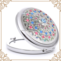 Round shape mini gold shell type metal compact mirror