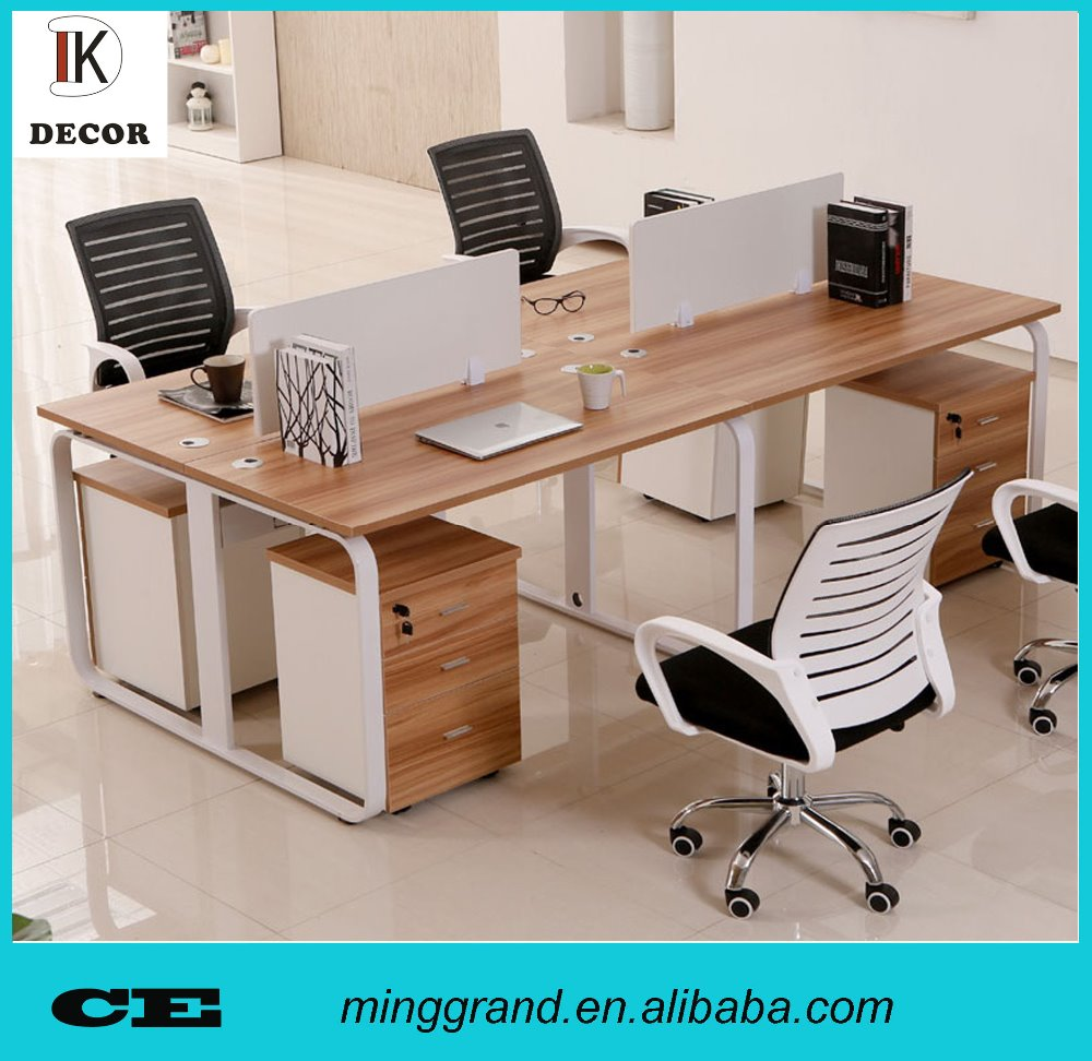 Custom made 4 seats cheap office desk with screen