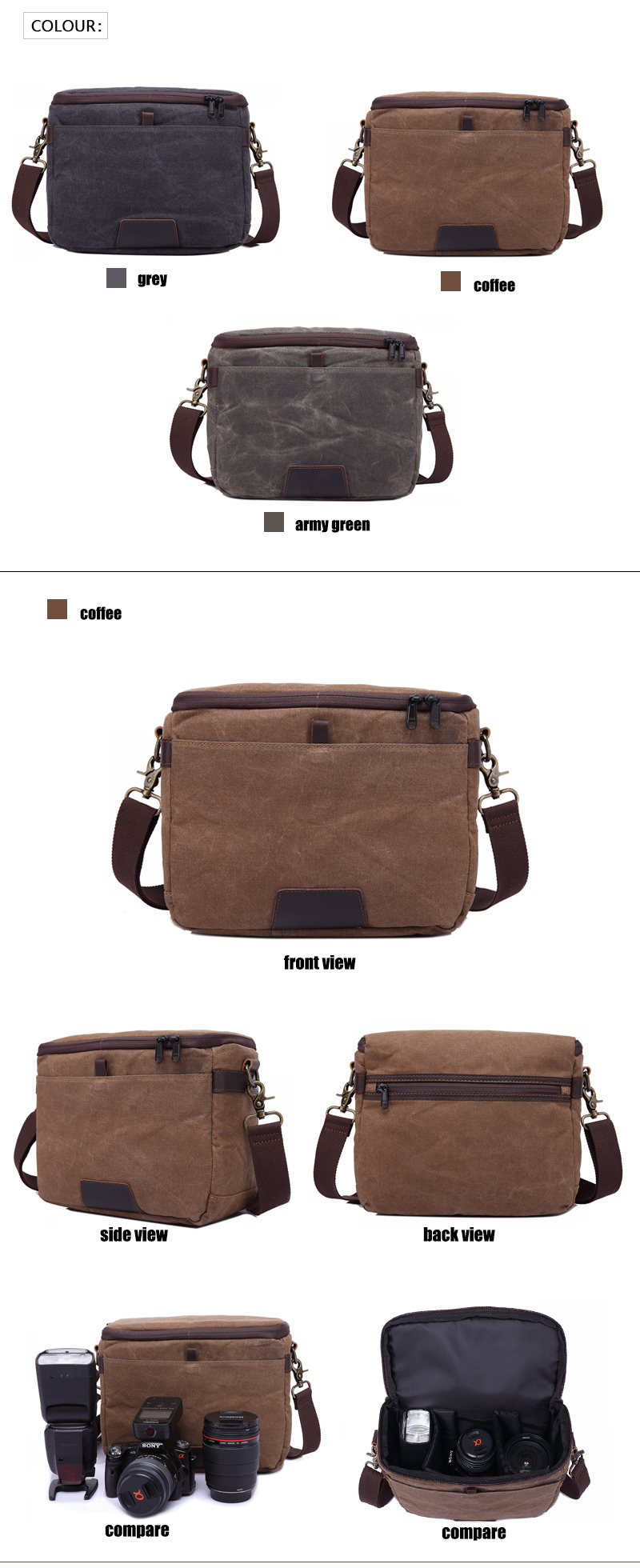 YD-3191 vintage quality unisex custom video leather canvas dslr camera bag , camera shoulder bag dslr