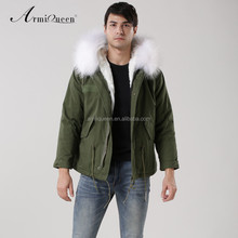 2017 New Style Italy Real Raccoon Fur Hooded White Faux Fur Jacket For men