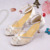 Women White Lace High Heel Shoes Bride
