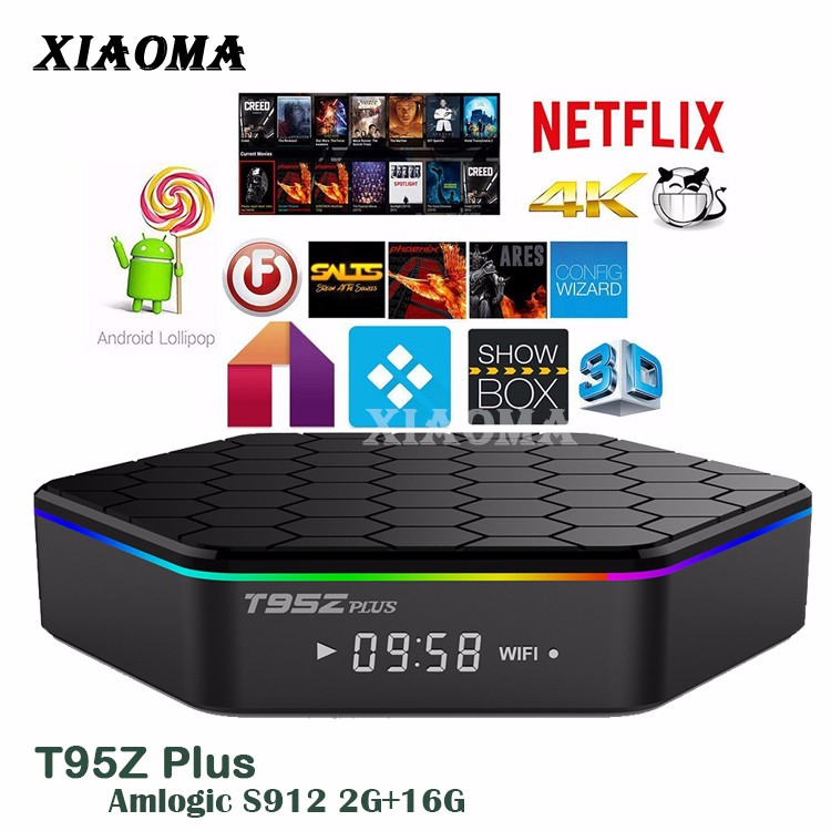 T95Z plus wifi 5G BT 4.0 S912 smart blue magic box tv receiver android 6.0