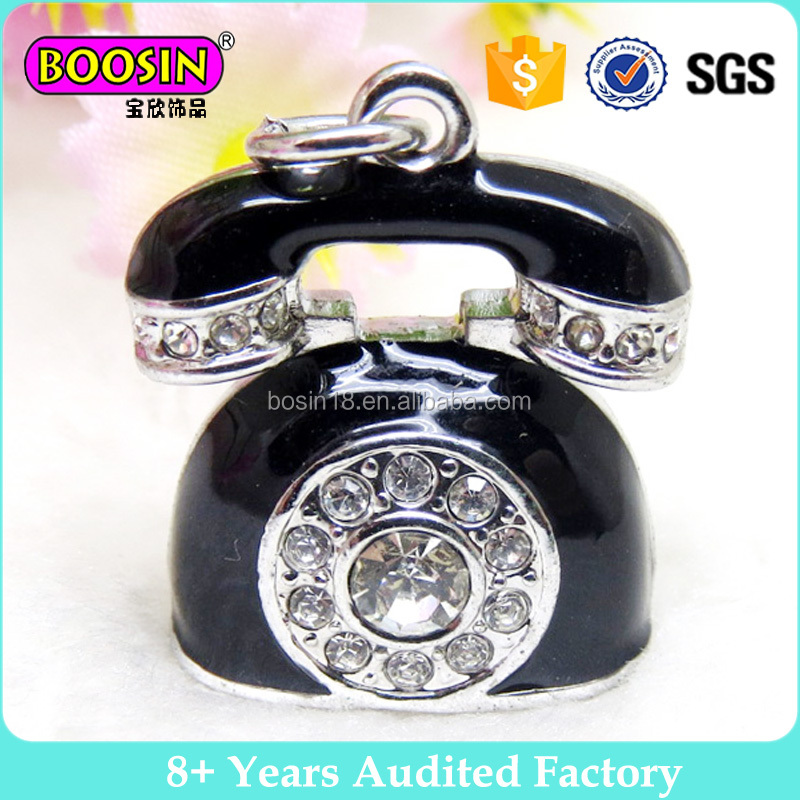 Classic European Phone Charm Crystal Black Phone Charm Accessories #17389